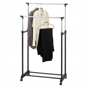 New! Double Clothes Rail Portable Hanging Garment W/ Shoe Rack Shelf