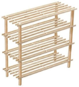 New 4 Tiers Slatted Solid Natural Wooden Shoe Rack Stand Storage Organiser Shelf