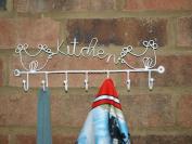 White Kitchen Sign Hooks 7 Hook Keys Apron Tea Towel Rack Hen Country Shabby New