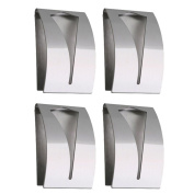 Com-four® 4x Hand Towel Hooks Self-adhesive Stainless Steel