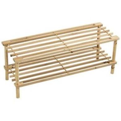 Shoe Rack 2 Tier Slated Shelf Natural Wood Organiser Storage Stand Unit Holder