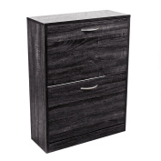 2 Drawer Black Wood Effect Shoe Storage Cupboard Cabinet Furniture