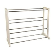 4 Tier Shoe Rack Storage Organiser Boot Shelf Stand Stainless Steel Metal Unit