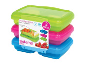 Sistema Lunch Collection Split Food Storage Containers, 1.5 Cup, Set of 3 in Assorted Colours