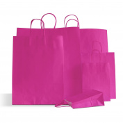 10 X Shocking Pink Paper Party Bags Twisted Handles 15x20x8cm Birthday Loot