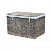 Antique Wash Wicker Storage Trunk Chest Basket Willow Large Box Toy Blanket Shoe