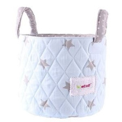 Minene Small Blue With Grey Stars Fabric Storage Basket Organiser With Handles
