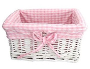 Shabby Chic White Wicker Storage Basket With Pink & White Gingham Lining …