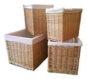 Choice Baskets Large Buff Willow Wicker Deep Storage Basket Lined L48cm X W35cm