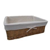Natural Wicker Rectangular Storage Basket - Underbed Bathroom Bedroom - Lined