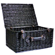 Traditional Style Black Wicker Storage Basket 50cm (with Buckle Fastners And