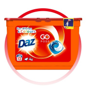 Daz Go Pods Washing Detergent Cleaning Capsules For Whites & Colours - 12 Washes