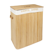 Xlarge Rectangular Folding Bamboo Clothes Laundry Linen Bin Basket With 2 Compar