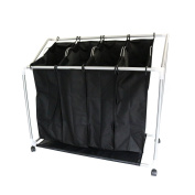 New! 4 Bag Laundry Clothes Washing Sorter Cart Trolley Hamper Basket