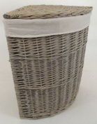 Medium Grey Wicker Corner Linen Laundry Basket With Removable Lining. Storage
