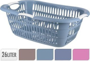 Grey Blue Laundry Hamper Basket With Carry Handles Storage Washing Bin Plastic