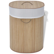 Bamboo Laundry Basket Collapsible Bathroom Dirty Clothes Towels Bin Home Natural