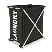 Black & White X-frame Laundry Bin Basket By Roman At Home