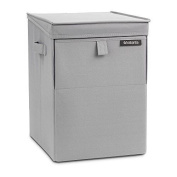 Laundry Basket Stackable Storage Linen Box Handle Buckets Fold Grey