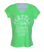 Seattle Seahawks Women's Size Small Cap Sleeve V Neck Tee Shirt - Neon Green And White