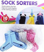 10 X Sock Sorting Clips Laundry Drying Washing Line Pegs Hamper Organiser