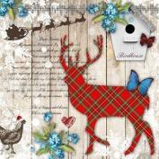 "Christmas Tartan Reindeer Red 3-ply 20 Paper Napkins Serviettes 13""x13""-33x33c"