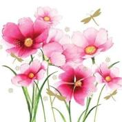 """Floral Flowers Pink White 3-ply 20 Paper Napkins Serviettes 13""""x13""""-33x33c"""