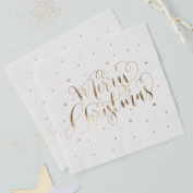 Gold Foiled Merry Christmas Paper Napkins X 20 3 Ply Xmas Party