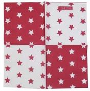Red White Inverse Stars 3-ply 20 Paper Napkins Serviettes 33cm X 33cm