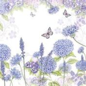 """Flowers Butterflies Lilac 3-ply 20 Paper Napkins Serviettes 13""""x13""""-33x33c"""