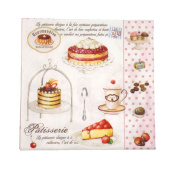"""French-style Cakes Polka Pink 3-ply 20 Paper Napkins Serviettes 13""""x13""""-33x33c"""