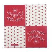 "Christmas Stars Snowflake Red 3-ply 20 Paper Napkins Serviettes 13""x13""–33x33c"