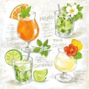"Bright Cocktails Orange Green 3-ply 20 Paper Napkins Serviettes 13""x13""-33x33c"