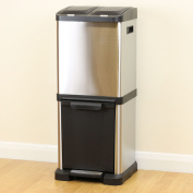 Triple Rubbish/waste & Recycling Pedal Three Compartment Metal Dust Bin Kitchen