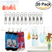 Rosenice 20pcs Stainless Steel Clothes Pins Laundry Clips Folders Pegs Holders