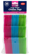 36 Large Plastic Pegs Rust Free Springs Assorted Colours