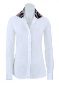 RJ Classics Prestige Linden Show Shirt Ladies White W/Black Print Trim