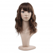 MelodySusie® Brown Curly Wigs - Natural Medium Length Strawberry Blond Wigs for Women, High Quality Wigs with Free Wig Cap and Wig Comb
