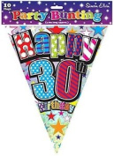 Birthday Party Decorations - Bunting Happy 30th Birthday Party Flags