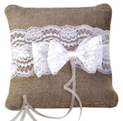 Wedding And Party Store Hessian Ring Pillow, Beige