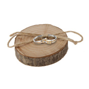 Veewon Rustic Shabby Chic Wedding Wooden Ring Pillow Bearer Jute Rope Round