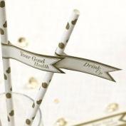 Straw Flags X30 Wedding Tableware Vintage Romance Gold