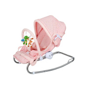 Fascol Baby Bouncer Chair Infant Rocker with Canopy Swing Bouncer for Newborn to 6 Months, Load 7KG, Pink