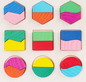 Lumanuby Puzzle Wooden 9 Shape Puzzle Toys Wooden Cartoon Children Hand Bricks Blocks Baby Early Childhood Education Traditional Toys for Know The Shape