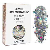 Silver Holographic Chunky Glitter ✮ Cosmetic Glitter ✮ Festival Glitter Face