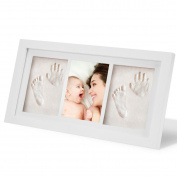Cusfull Baby Handprint and Footprint Photo Frame kit Unique Baby Shower Gifts Baby Photo Frame -White