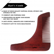 Hari's Wooden Beard moustache Shaping Tool Template Set - Lightweight and Flexible - One Size Fits All - Curve Cut, Step Cut, Neckline & Goatee Beard Shaping Tool For Gents Male - FREE Storage Pouch