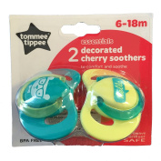 Tommee Tippee essentials decorated cherry soothers 6-18m 2pack