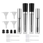 Frcolor 2pcs 7.5ml Empty Mascara Tube 2pcs 10ml Empty Mascara Tube 4pcs Funnels for Castor Oil 4pcs Dropper