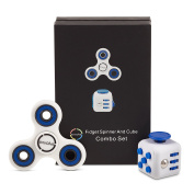 Fidget Toy and Fidget Spinner Combo (Blue) Original by Envolve – For focus, calm anxiety, and break nervous habits. Long spin times